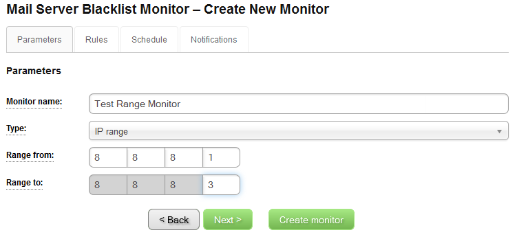 IP Blacklist Monitor - Create New Monitor - Parameters