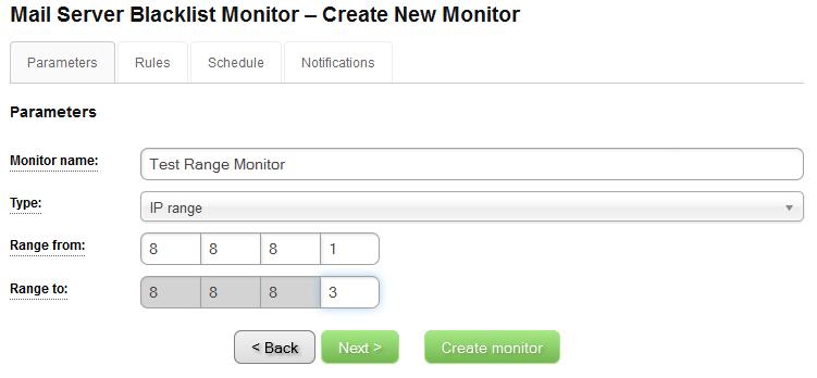 IP Blacklist Monitor - Create New Monitor - Parameters