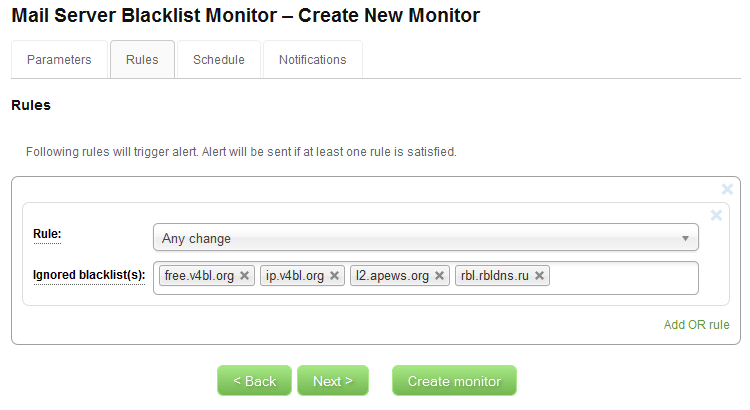 IP Blacklist Monitor - Create New Monitor - Rules
