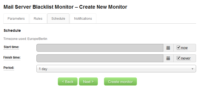 IP Blacklist Monitor - Create New Monitor - Schedule
