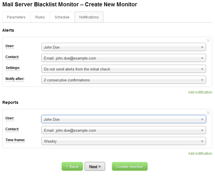IP Blacklist Monitor - Create New Monitor - Notifications
