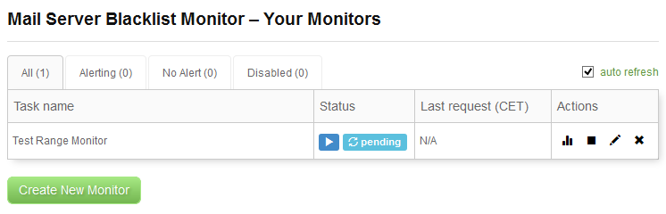 IP Blacklist Monitor - Your Monitors - Pending